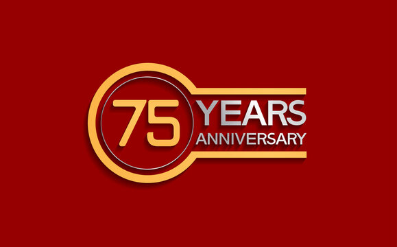 75 years anniversary golden and silver color with circle isolated on red background can be use for special moment, celebration, invitation and greeting card