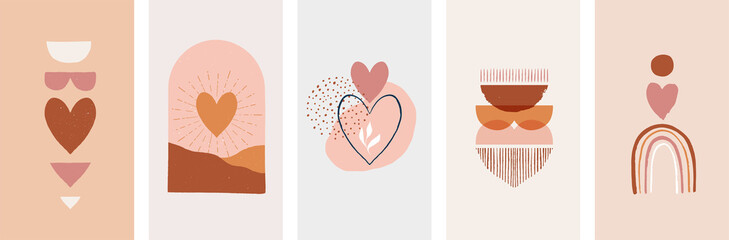 Bohemian, Boho Valentines day illustrations, hand drawn artwork in terracotta, earthy colours, heart and love concept design