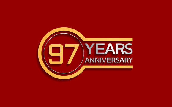 97 years anniversary golden and silver color with circle isolated on red background can be use for special moment, celebration, invitation and greeting card