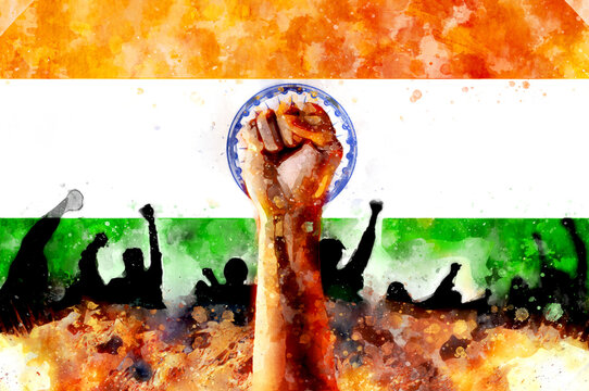 Fist up against the background India flag. Protest watercolor illustration. Fight for justice, a symbol of freedom. Conflict with the government, riots in the streets.