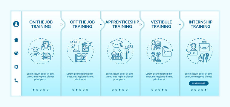 Employee development methods onboarding vector template. Apprenticeship, vestibule training. Remote courses. Responsive mobile website with icons. Webpage walkthrough step screens. RGB color concept
