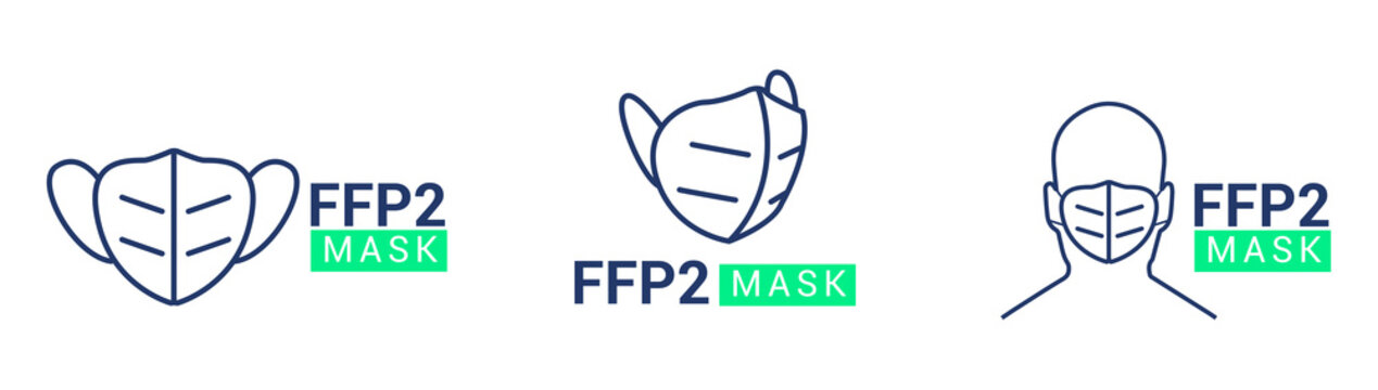FFP2 face mask icon symbol logo set collection vector illustration