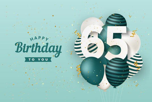 Happy 65th birthday with green balloons greeting card background. 65 years anniversary. 65th celebrating with confetti. Vector stock