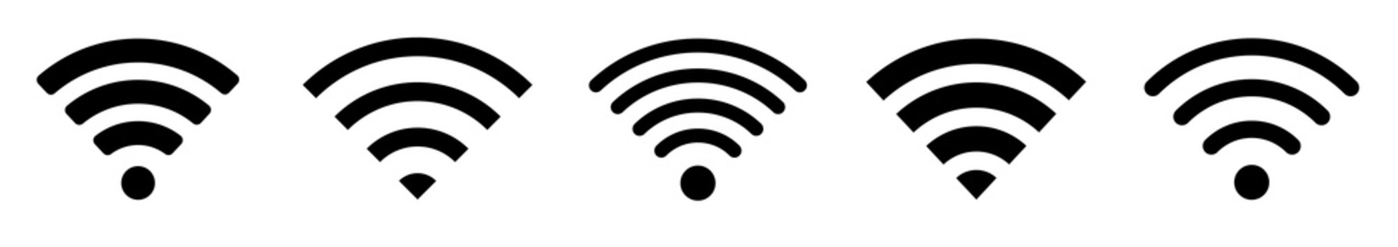 Wi-Fi Icon set symbol. Wireless and wifi icon or wi-fi icon sign for remote internet access. Network wifi business concept. Vector illustration.