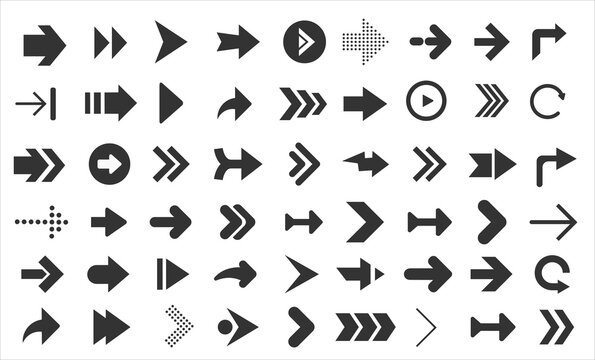 Arrows web collection on white. Modern graphic direction signs computer screen arrows set
