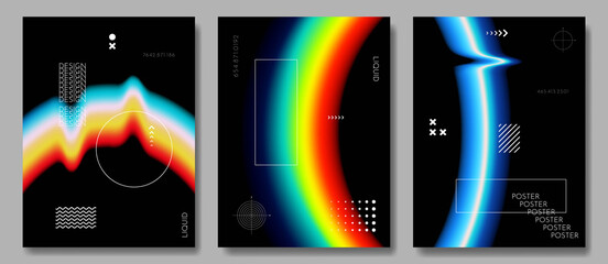 Fototapeta Vector illustration. Abstract liquid colorful shapes collection isolated on black geometric background. Modern art.  Design elements for poster, book cover, brochure, magazine, flyer, booklet obraz