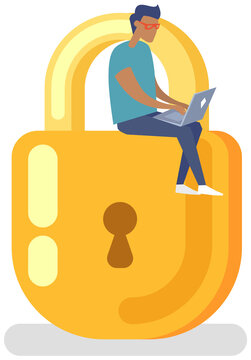 Protection of personal information of users. Padlock icon with man sitting on top, security defense. Lock key illustration privacy and password icon. Protection and safety with locked lock mechanism