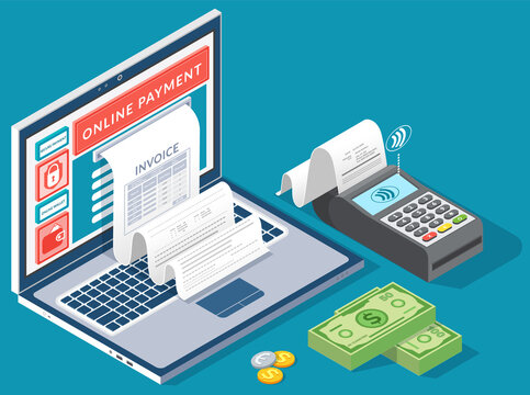 Online digital invoice laptop or mobile smartphone with bills credit card money coins flat illustration. Concept of electronic bill and online bank, laptop with check tape, payments electronic online