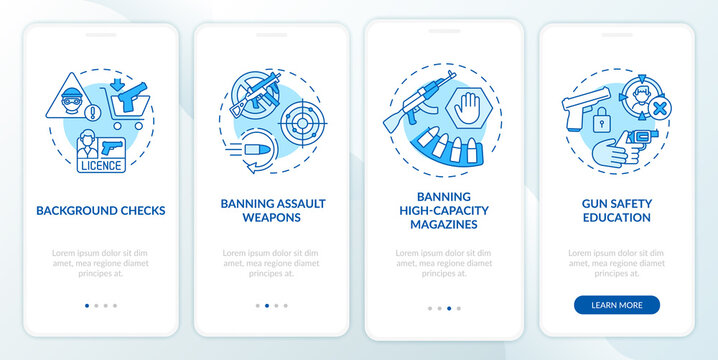 Gun safety guidelines blue onboarding mobile app page screen with concepts. Weapon control and regulation walkthrough 5 steps graphic instructions. UI vector template with RGB color illustrations