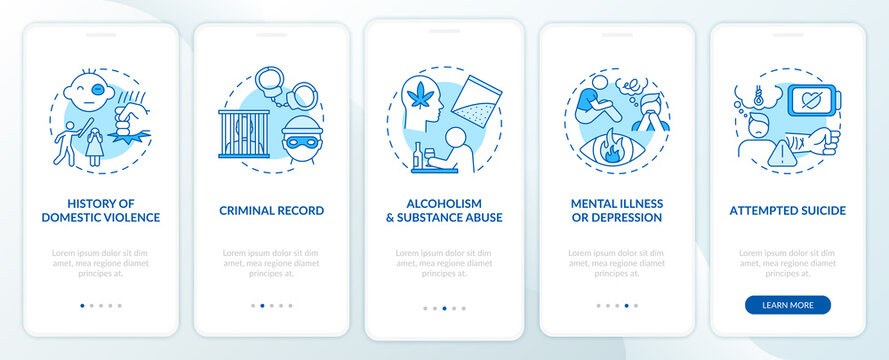 Personal history of violence blue onboarding mobile app page screen with concepts. Gun control guidelines walkthrough 5 steps graphic instructions. UI vector template with RGB color illustrations