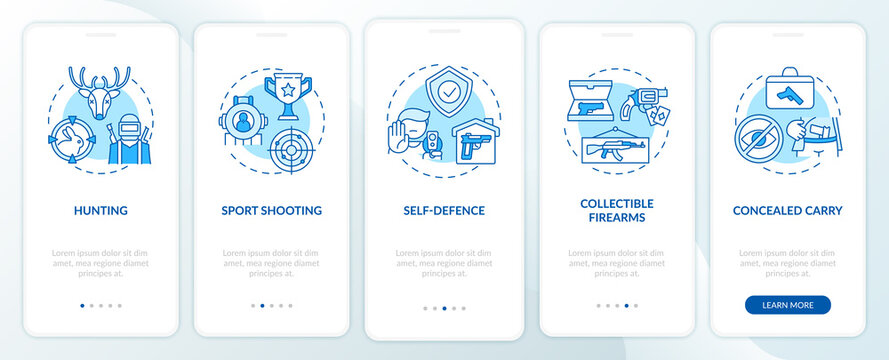 Guns for hobby blue onboarding mobile app page screen with concepts. Self defense. Weapon control walkthrough 5 steps graphic instructions. UI vector template with RGB color illustrations