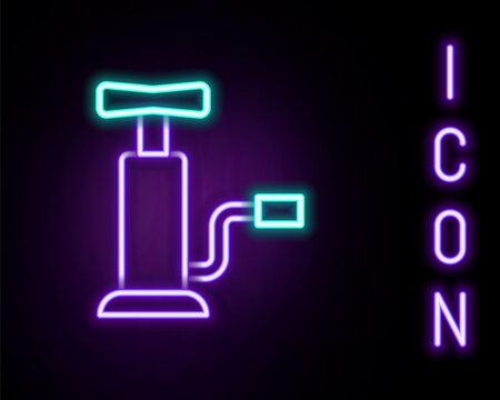 Glowing neon line Car air pump icon isolated on black background. Colorful outline concept. Vector.