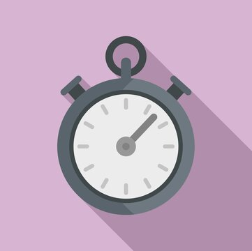 Dog training stopwatch icon. Flat illustration of dog training stopwatch vector icon for web design