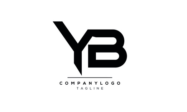 Abstract Letter Initial BY and YB Vector Logo Design Template