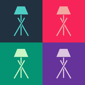 Pop art Floor lamp icon isolated on color background. Vector.