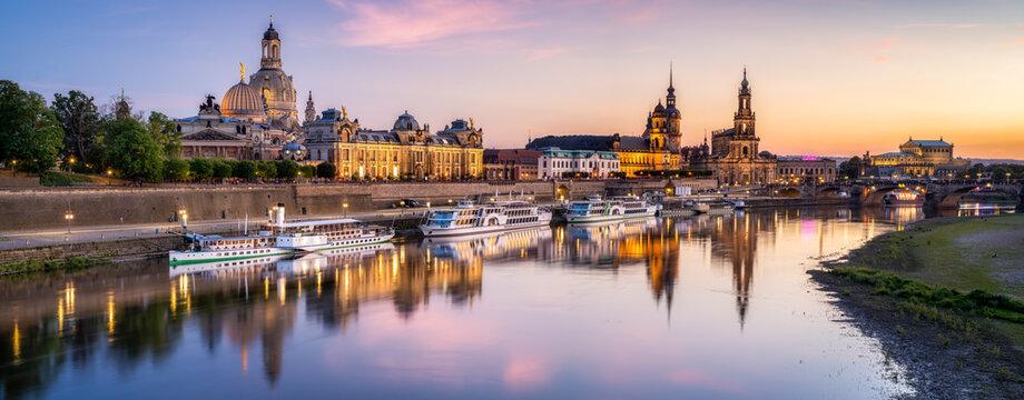 Dresden skyline panorama at sunset, Saxony, Germany