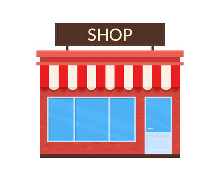 Vector icon of shop building isolated on white background.