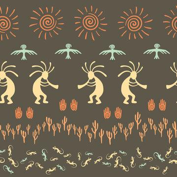 Mythical, design with gecko, Kokopelli fertility god, sun, bird, cacti.