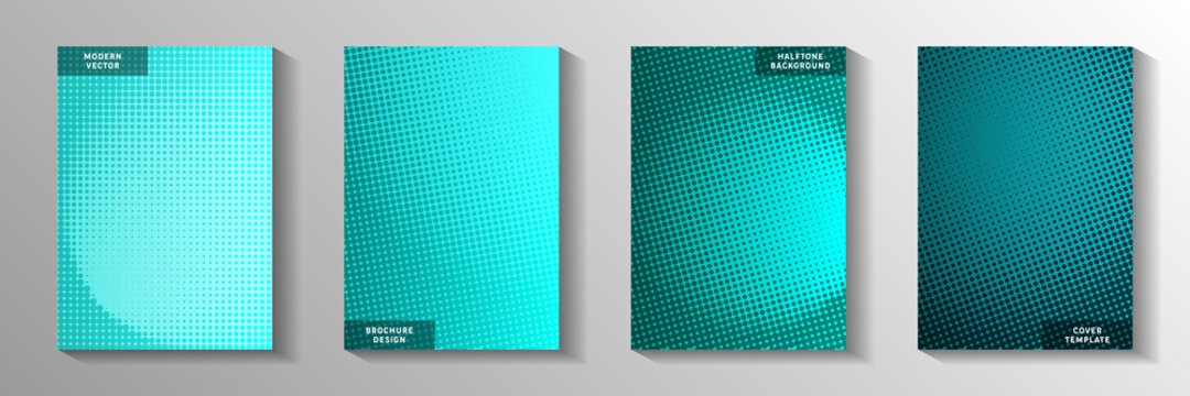 Tech dot perforated halftone cover templates vector set. Business banner faded halftone patterns.
