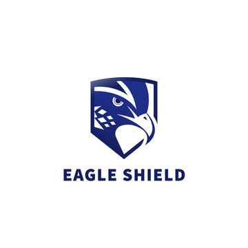 Blue Eagle shield security Logo Design Template Flat Style Vector