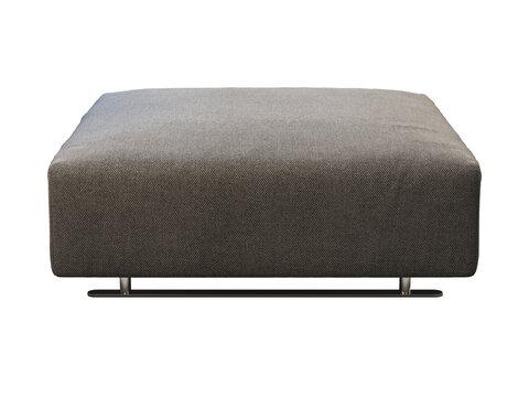 Dark gray fabric ottoman with storage. 3d render