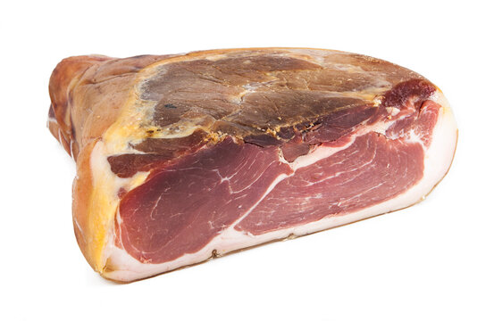 Traditional Italian Prosciutto Crudo ham isolated on a white background. See the portfolio from a different angle.