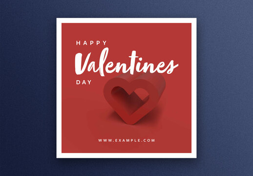 Valentine's Day Social Media Post Layout with 3D Heart Image