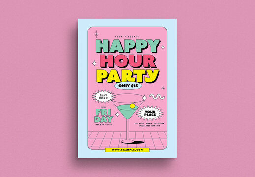 Happy Hour Event Flyer Layout