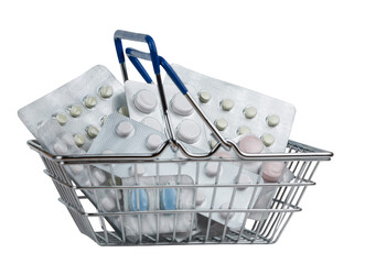 Shopping backet filled with pills on white background.