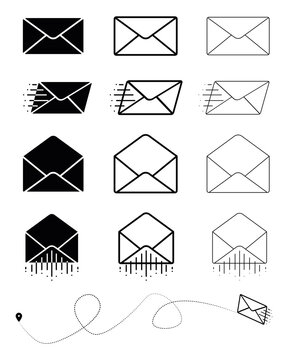 Big set of closed envelope, open envelope and fast moving modern mail symbol. Envelope sign. Vector drawing. Email symbol. Letter icon set. Email notification. Contact Form. Modern line art design.