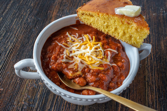 bowl of homemade chili with cornbread
