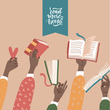Many raised black hands holding books. Education, training, book lovers club infographic . An African American character studing. Vector flat illustration