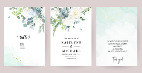 Fototapeta Silver sage green, mint, blue, white flowers vector design spring cards obraz