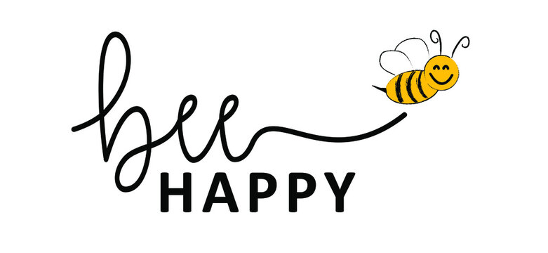 Slogan Don't worry Bee happy. Abstract yellow beehive raster background. Honeycomb cells pattern. Funny cute flying bee honey shapes. Vector for banner or wallpaper. Texture signs. Dont worry Be happy