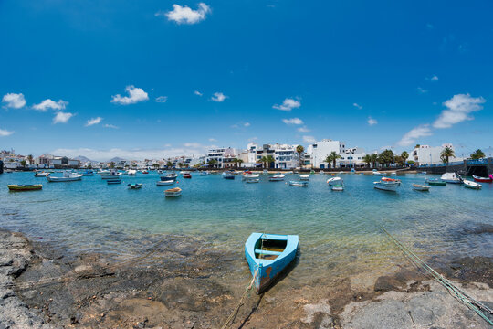 Lanzarote, Spain; January 10, 2020: beautiful image of the charco de San Gines in the center of the city of Arrecife where you can see boats used by fishermen on the island of Lanzarote