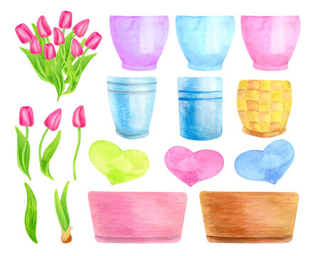 Watercolor spring bouquet creator set. Hand drawn tulip flowers, leaves, hearts and colorful flowerpots isolated on white background. Cute floral illustration for cards, Easter, Mother's Day.