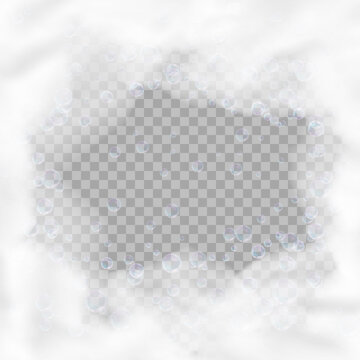 Bath foam square frame with bubbles isolated on transparent background. Realistic soap lather texture. Vector illustration of shampoo, gel or mousse suds overlay effect