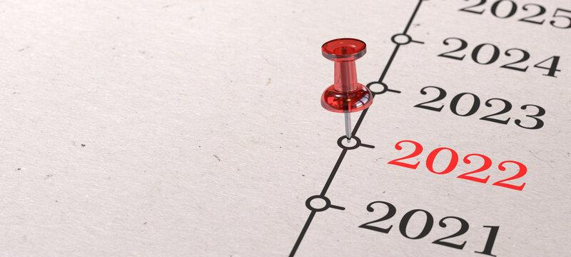 2022 - Rote Pinnadel auf Zeitleiste