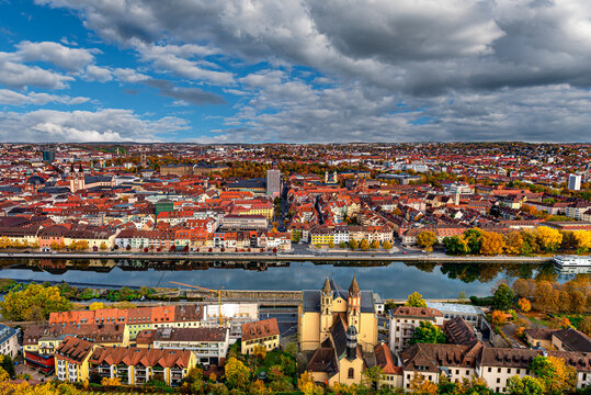 view over the city of w rzburg, bavaria, germany