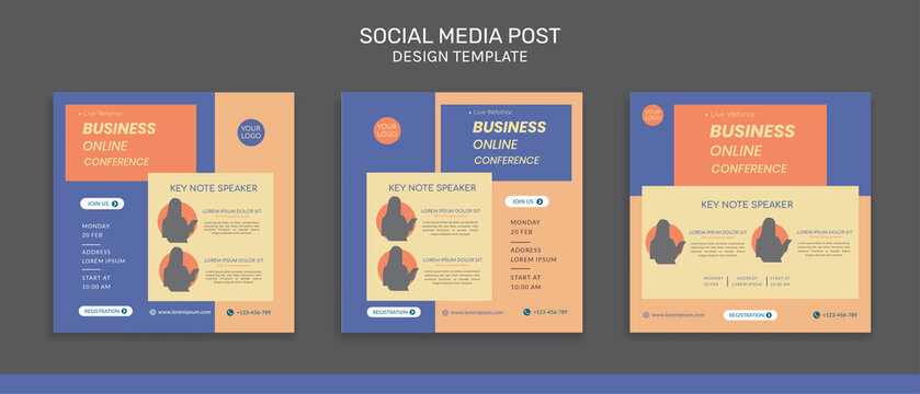 Collection of social media post templates. Vector graphics perfect for business webinar, creative webinar and other online seminars