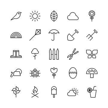 Spring icon set. Spring outline symbol collection of nature, floral, garden, season, botany, plant, blossom, flower. Sign vector.