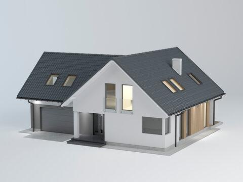 3D house model on white background, 3d illustration
