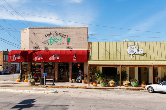 Scenic cityscape view of Main Street in the small Texas Hill Country town of LLano, Texas