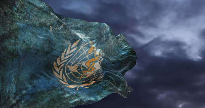 retro flag of World Health Organization  with grunge texture waving in the wind. 3d illustration