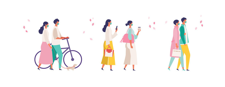 Men and women have a day off on new normal. Shopping, dating and walking.