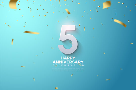5th Anniversary with golden ribbon rain numbers and illustrations.