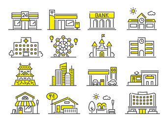 Obraz ベクターイラスト素材:街にある建物セット、シンプル  - fototapety do salonu