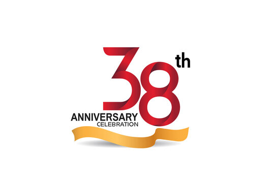 38 anniversary design logotype red color and golden ribbon for celebration isolated on white background