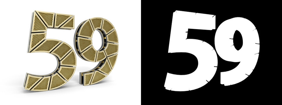 Number fifty-nine (number 59) with perforated gold segments