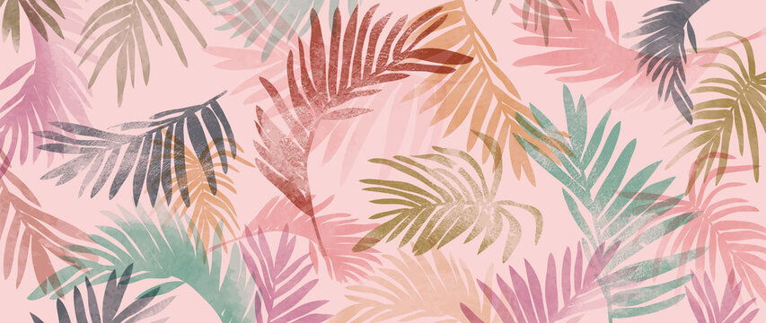 summer tropical wall arts vector. Palm leaves, monstera leaf, Botanical  background design for wall framed prints, canvas prints, poster, home decor, cover, wallpaper.